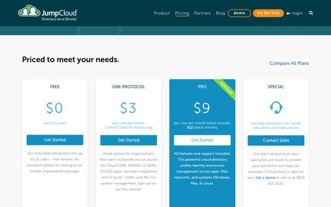 Screenshot of Pricing Page jumpcloud.com - Pricing - JumpCloud - captured Oct. 27, 2018