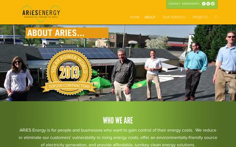 Screenshot of About Page ariesenergy.com - About - Aries Energy - captured Nov. 2, 2014