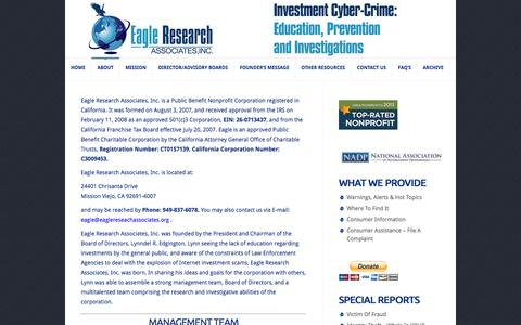 Screenshot of About Page eagleresearchassociates.org - About Us | Eagle Research Associates, Inc - captured Oct. 1, 2014