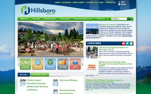 Screenshot of Home Page hillsboro-oregon.gov - Hillsboro, OR : Home - captured June 29, 2016