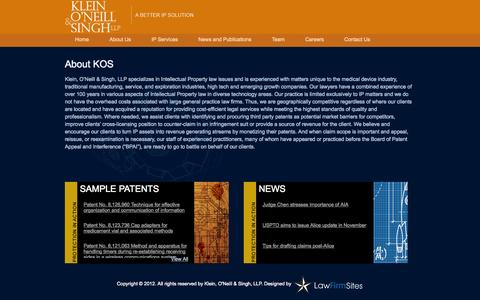 Screenshot of About Page koslaw.com - About Us | Klein, O'Neill & Singh LLP - captured Oct. 27, 2014