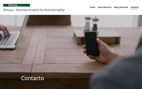 Screenshot of Contact Page bawarp.com - Contacto – BAwarp – Business Analysis for Business Agility - captured July 31, 2018