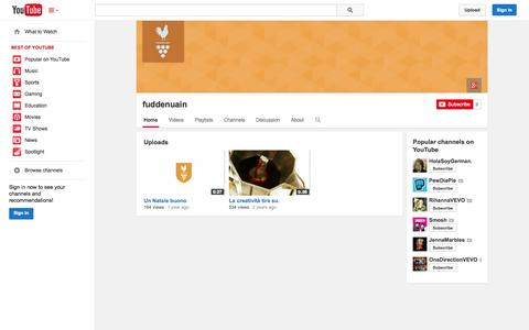 Screenshot of YouTube Page youtube.com - fuddenuain  - YouTube - captured Oct. 23, 2014