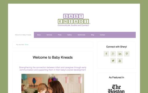 Screenshot of Home Page babykneads.com - Welcome to Baby Kneads – Communicate, Soothe, Connect - captured July 27, 2016