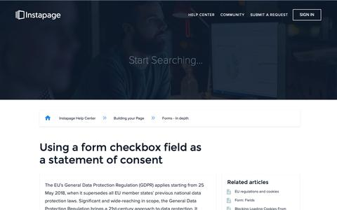 Screenshot of Support Page instapage.com - Using a form checkbox field as a statement of consent – Instapage Help Center - captured Nov. 9, 2018