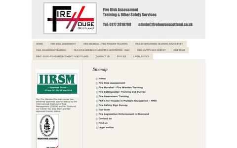 Screenshot of Site Map Page firehousescotland.co.uk - Fire Risk Assessment Training Safety Services Glasgow Edinburgh - captured Sept. 30, 2014