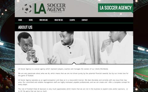 Screenshot of About Page lasocceragency.com - About Us Â«  LA Soccer Agency - captured July 9, 2016