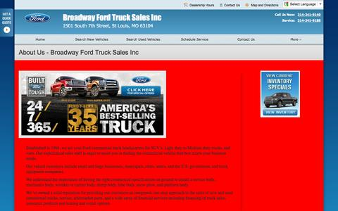 Screenshot of About Page broadwaytruck.net - About Us at Broadway Ford Truck Sales Inc - Your St Louis, Missouri Ford dealer - captured Feb. 8, 2016