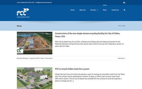 Screenshot of Press Page fccenvironmental.com - News - FCC Environmental - captured Aug. 3, 2016