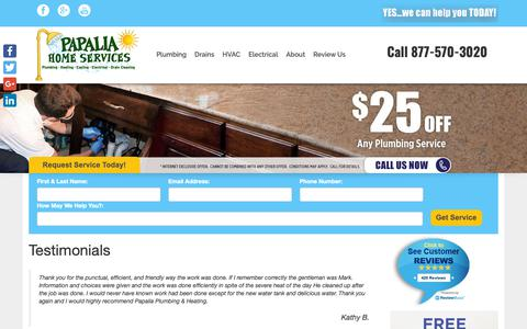 Screenshot of Testimonials Page papaliaplumbing.com - Testimonials - Papalia Plumbing & Heating - captured Sept. 26, 2018