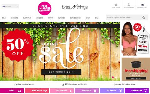 Screenshot of Home Page brasnthings.com - Buy Underwear Online | Shop for Bras at Bras N Things Australia - captured Sept. 24, 2014