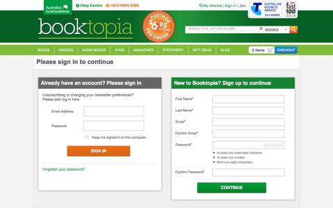 Screenshot of Signup Page Login Page booktopia.com.au - Booktopia - Books, Online Books, #1 Australian online bookstore, Buy Discount Books, eBooks and DVDs from Australia and the world. - captured July 30, 2016