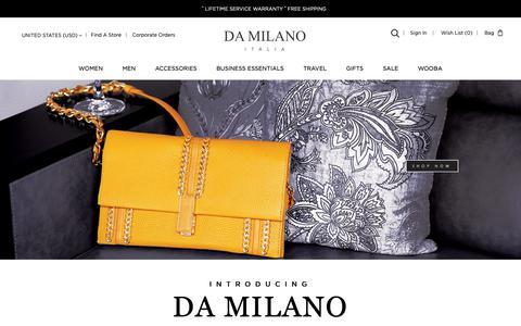 Screenshot of Home Page damilano.com - Designer Handbags and Accessories for Men and Women | DA MILANO - captured Dec. 12, 2018