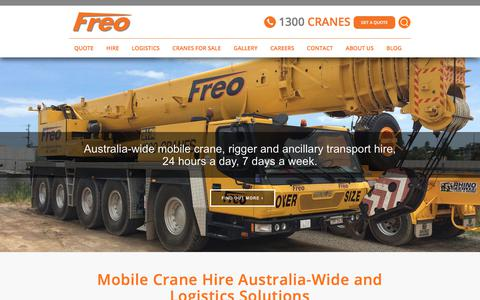 Screenshot of Home Page freogroup.com.au - Mobile Cranes in Australia | Freo Group - captured Oct. 14, 2017