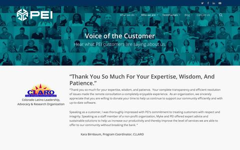 Screenshot of Testimonials Page pei.com - Voice of the Customer - PEI - captured July 14, 2018