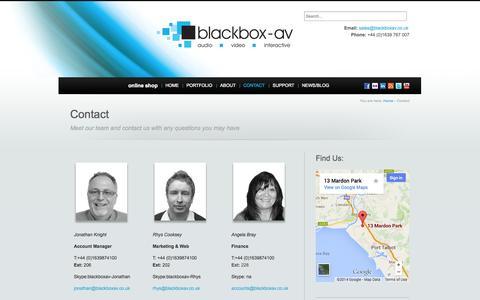 Screenshot of Contact Page blackboxav.co.uk - Contact - blackbox-av audio visual specialists - captured Sept. 30, 2014