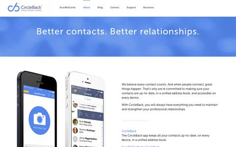 Screenshot of About Page circleback.com - Apps for Business Contacts | Business Contact App | CircleBack - captured Sept. 23, 2014