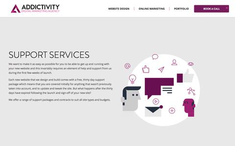 Screenshot of Support Page addictivity.com - Professional Website Design Agency | Addictivity - captured July 29, 2018
