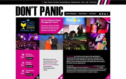 Screenshot of Home Page dontpanicprojects.com - Don't Panic Events - event management & awards specialists - captured Oct. 5, 2014
