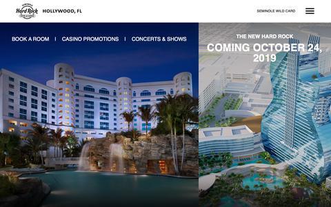 Screenshot of Home Page seminolehardrockhollywood.com - Seminole Hard Rock Hotel & Casino Hollywood, FL - captured May 23, 2019