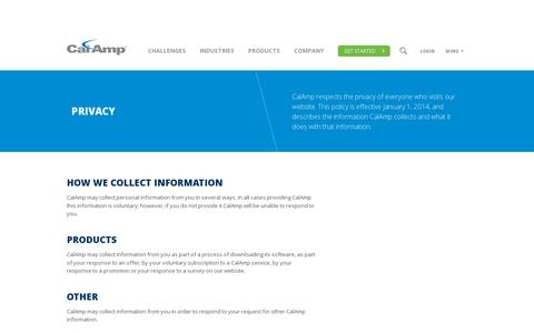 Screenshot of Privacy Page calamp.com - Privacy | CalAmp - captured July 18, 2014