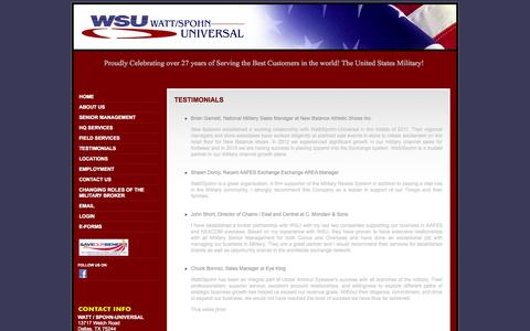Screenshot of Testimonials Page wattspohn.com - Military Exchange Retail from Watt-Spohn Universal - captured Oct. 27, 2014