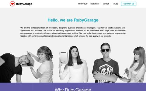 Screenshot of About Page Team Page rubygarage.org - Our team of Ruby on Rails developers - captured Dec. 6, 2016