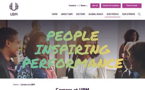 Screenshot of Team Page ubm.com - Careers at UBM | UBM - captured Aug. 24, 2018
