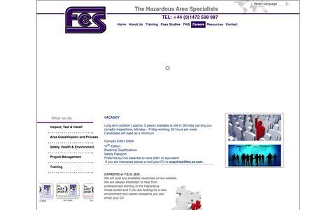 Screenshot of Jobs Page fes-ex.com - FES: Hazardous Area Specialists  - Careers - captured Feb. 4, 2016