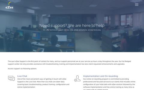 Screenshot of Support Page ezeetechnosys.com - Need support? We are here to help. - captured Oct. 24, 2018