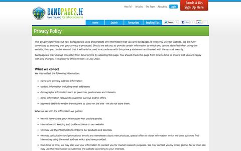 Screenshot of Privacy Page bandpages.ie - Privacy - captured Oct. 5, 2014