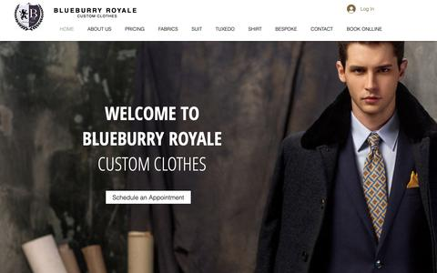 Screenshot of Home Page blueburryroyale.com - BLUEBURRY ROYALE CUSTOM CLOTHES | Encino Los Angeles CA | Bespoke Men - captured Feb. 13, 2019