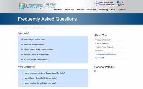 Screenshot of FAQ Page ccob.org - Frequently Asked Questions - Calvary Chapel Old Bridge - captured June 19, 2016