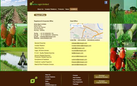 Screenshot of Locations Page ariesagro.com - Aries Agro Limited - Locations - captured Feb. 6, 2016