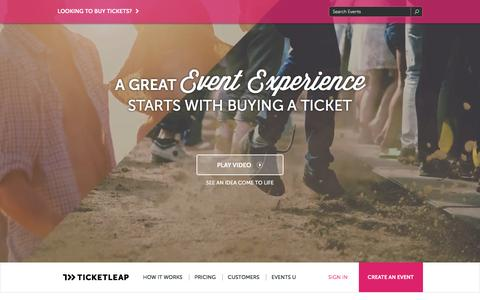 Screenshot of Home Page ticketleap.com - Online Ticket Sales: Sell Tickets to your Event - captured Dec. 6, 2015