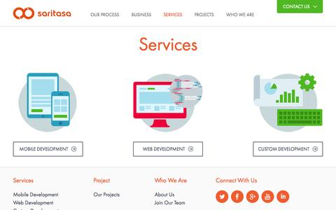 Screenshot of Services Page saritasa.com - Services - captured Nov. 2, 2014
