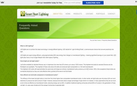 Screenshot of smartstartlighting.com - Frequently Asked Questions - Smart Start Lighting - captured Oct. 5, 2015