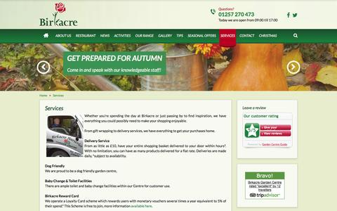 Screenshot of Services Page birkacre.co.uk - Services - Birkacre Garden Centre - captured Nov. 22, 2016