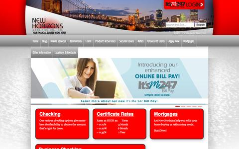 Screenshot of Home Page newhorizonscu.com - New Horizons Credit Union | Your Financial Success Begins Here!!!!! - captured Nov. 29, 2016