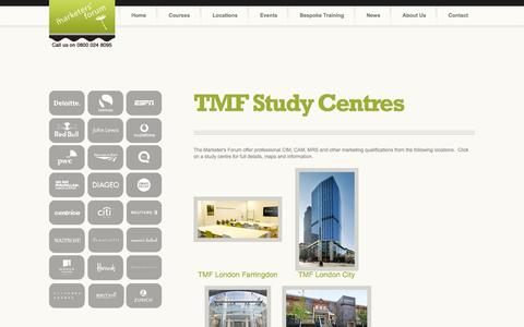 Screenshot of Locations Page themarketersforum.co.uk - Locations - The Marketers' Forum - captured Oct. 9, 2014