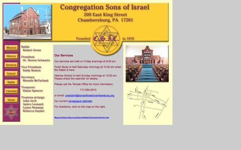 Screenshot of Services Page sonsofisraelchambersburg.org - Services at Congregation Sons of Israel, Chambersburg, PA - captured Oct. 2, 2014