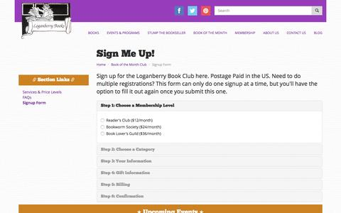 Screenshot of Signup Page loganberrybooks.com - Sign Up for Book of the Month Club | Loganberry Books - captured May 29, 2016