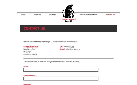 Screenshot of Contact Page getcrs.com - Competitive Range | Contact Us - captured Oct. 8, 2014