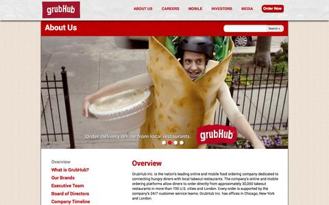 Screenshot of About Page grubhub.com - GrubHub, Inc. - About Us - Overview - captured Sept. 16, 2014