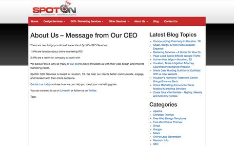 Screenshot of About Page spotonseo.com - About Us - Message from Our CEO - captured Jan. 19, 2018