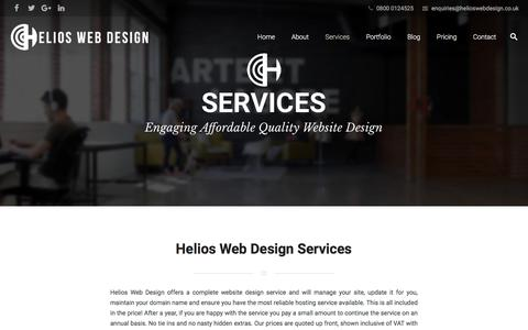 Screenshot of Services Page helioswebdesign.co.uk - Our Services - Helios Web Design - Wordpress Website Design For Business - captured July 18, 2018