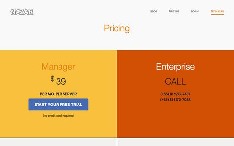 Screenshot of Pricing Page nazar.io - NAZAR | Application Database Performance Monitoring | - captured Aug. 11, 2015