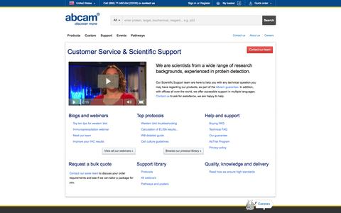Screenshot of Support Page abcam.com - Customer Service and Scientific Support - captured Oct. 28, 2014
