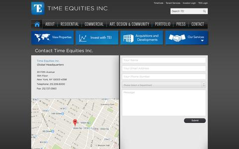 Screenshot of Contact Page timeequities.com - Contact - Time Equities Inc. - captured Nov. 2, 2014