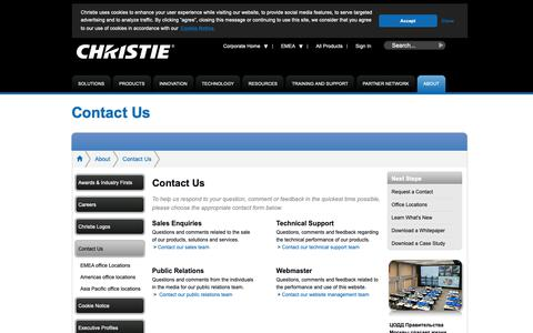Screenshot of Contact Page christiedigital.com - Contact Us   Christie - Visual Display Solutions - captured May 27, 2019